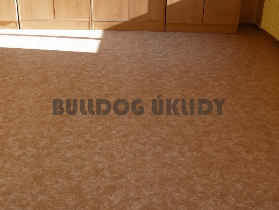 strojově vymytá podlaha před voskováním